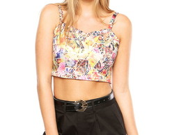 Top Cropped alcinha estampado