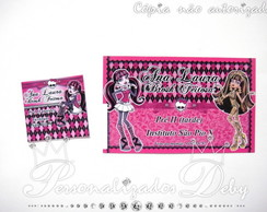 Kit 70 etiquetas escolares MONSTER HIGH