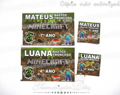 KIT 70 ETIQUETAS ESCOLARES MINECRAFT