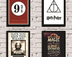 KIT-4 Posters com Moldura Harry Potter