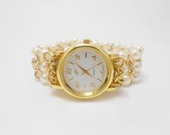 e7c8f98067d Relógio Feminino Bracelete Pérolas