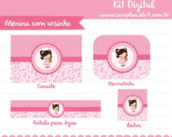 Kit Digital Menininha com Urso