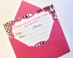 Convite Animal Print com Envelope