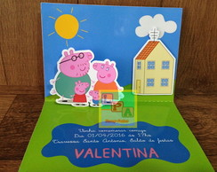 Convite Pop Up 3D Peppa Pig