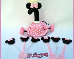 Vela Minnie 15cm+50 Colheres decoradas