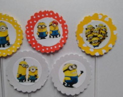 120 Minions Topper Cup Cake Personalizad