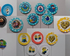 60 Chaves Topper Cup Cake Personalizados