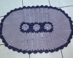 tapete croche oval com flores