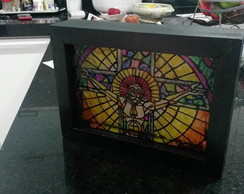 Quadro Vitral Cristo com LED