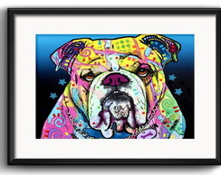 Quadro Bulldog Pop Art com Paspatur