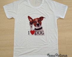 Camiseta I Love Dog Adulto/Infantil