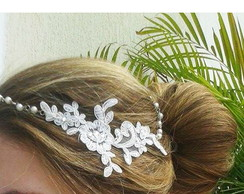 Headband Guipure Bride Pearls