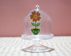 Mini-cúpula com aplique - Flor no vaso