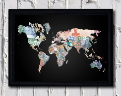 Poster com moldura Money Map