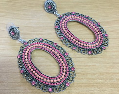 Brinco Metal Oval Strass Rosa