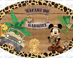 Placa Elipse - Festa Safari Mickey