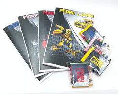 Kit colorir - revista e giz transformers