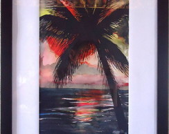 Quadro Por do sol - Original - Nanquim
