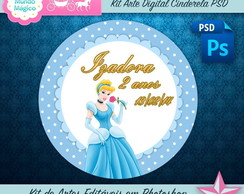 Kit Arte Digital Cinderela Azul Cute PSD