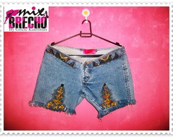 Shorts Jeans Customizado Étnico Tribal