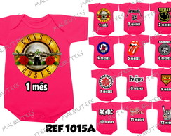 kit de 12 Body Infantil mêsversário Rock