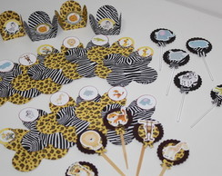 Kit Forminhas p/ Doces + Toppers Safari