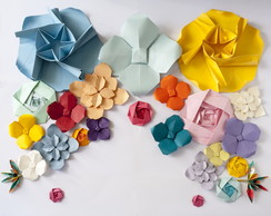Painel flores origami