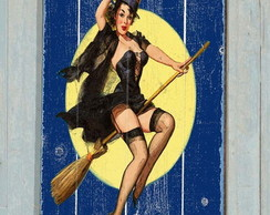 Placa Vintage / Retrô Pin Up Bruxa