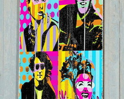 Placa Vintage / Retrô Pop Art Stars