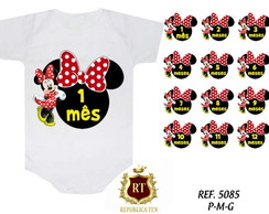 Mesversario Minnie Com Laço Kit 12 Body