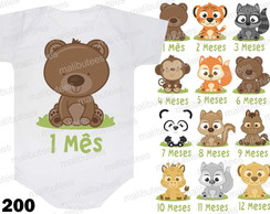 Body Mesversario Animais Kit 12