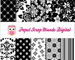 papel digital branco e preto floral 3-5