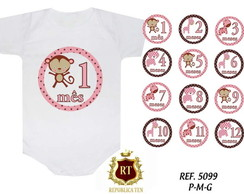 Body Mesversario Animais Rosa Kit 12