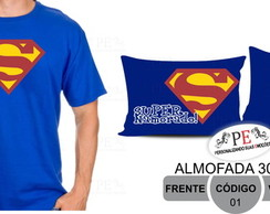 Kit camiseta e almofada Super Man