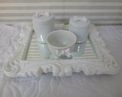 Kit Higiene Porcelana 2 potes 1 tigela