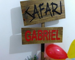 PLACA DECORATIVA FESTA INFANTIL SAFARI
