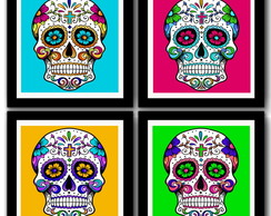 Kit 4 Quadros Caveiras Mexicanas Pop Art