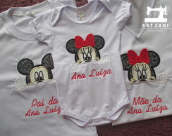 Kit 4 Camisetas Minkey e Minnie