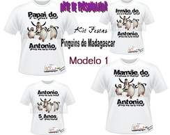 Kit Camisetas dos Pinguins de Madagascar