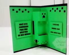 Convite Pop Up 3D Minecraft Creeper