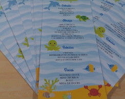 Menu Personalizado Fundo do Mar