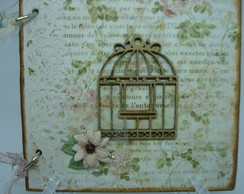 Mini Álbum Scrapbook - Pássaros e flores