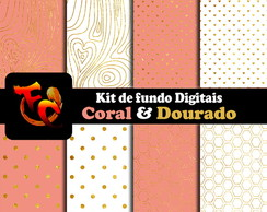 Kit Digital - Coral e Dourado