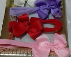 kit de 3 tiaras com laço boutique