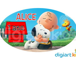 Placa - Painel - Oval - Snoopy - 70cm