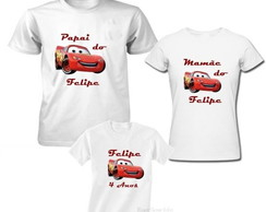 Kit 3 Camiseta Carros Aniversario