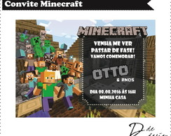 Convite minecraft - Arte Digital