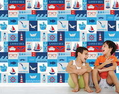 Adesivo Painel Infantil Barco Mar 59