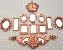 Kit 10 Mini Espelhos Decorativos Bronze