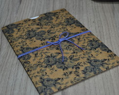 Envelope Estampado Kraft Floral Azul